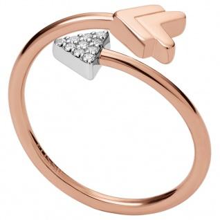 Fossil JFS00429998505 Damen Ring Pfeil Bicolor Rose Weiß 53 (16.9)