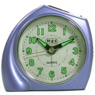 W&S 200902 Wecker Uhr blau-silber leise Sekunde Analog Licht Alarm