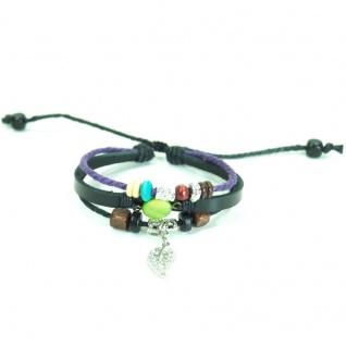 CJBB4409 Damen Armband Blatt Leder schwarz