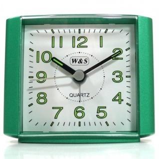 W&S 201118 Wecker Uhr grün-weiß leise Sekunde Analog Licht Alarm