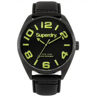 Superdry MILITARY Uhr Herrenuhr Lederarmband schwarz