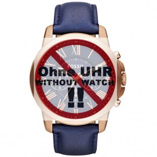 Fossil Uhrenarmband LB-FS4835 Original Ersatzband Leder 22 mm Blau