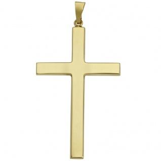 Basic Gold K10 Herren Anhänger Kreuz 14 Karat (585) Gelbgold
