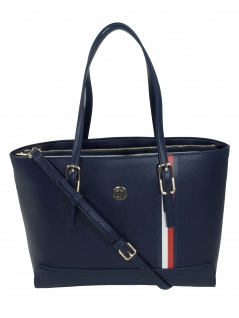 Tommy Hilfiger Damen Handtasche Tasche Shopper Honey M Tote Blau