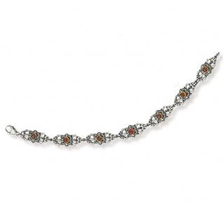 Tom Hill 41.9042 Damen Armband Silber bicolor Granat rot 19, 5 cm