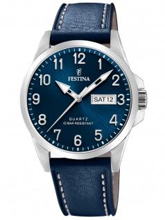 Festina F20358/C Uhr Herrenuhr Lederarmband Datum blau