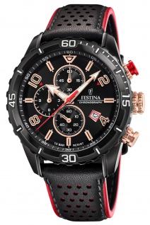 Festina F20519/4 Chronograph Uhr Herrenuhr Leder Chrono Datum schwarz