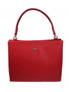 Tommy Hilfiger Damen Handtasche Tasche TH Modern Satchel Rot