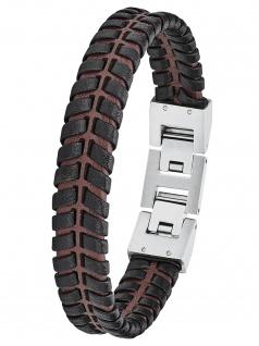 s.Oliver 2027443 Herren Armband Edelstahl Silber braun 21, 5 cm