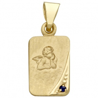 Basic Gold EN12 Kinder Anhänger Schutzengel 14 Karat (585) Gold Blau