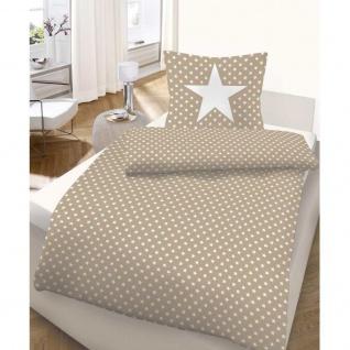 IDO 5922-182 Mako-Satin Bettwäsche 2tlg. Sterne Sand Weiß 135x200 cm - Vorschau 2