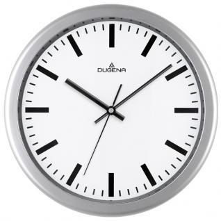 DUGENA 4460646 Wanduhr Uhr lautlos Kunststoff Analog silber