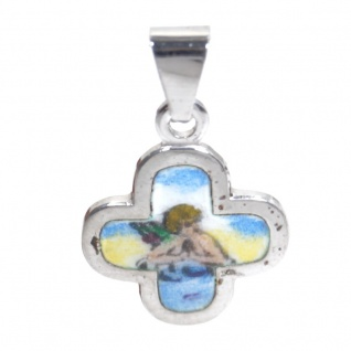 Basic Silber STG24 Kinder Anhänger Kreuz Schutzengel Silber