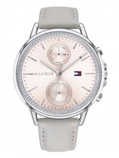 Tommy Hilfiger 1781914 CARL Uhr Damenuhr Lederarmband Datum Grau