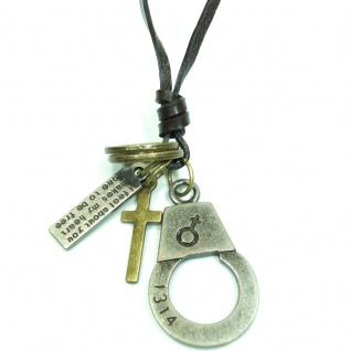 CJBN5669 Herren Collier Handschelle & Kreuz schwarz 60 cm