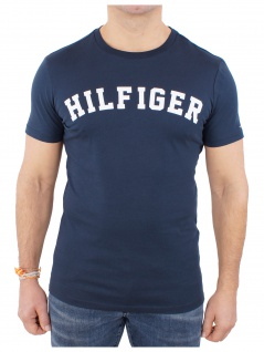 Tommy Hilfiger Herren T-Shirt Kurzarm SS Tee Logo UM0UM00054 Blau S