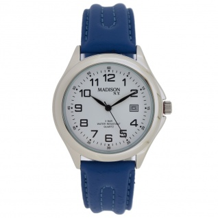 Madison MAD-002 Uhr Herrenuhr Lederarmband Datum blau