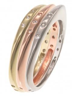 gooix 943-06737-560 Damen Ring Sterling-Silber Tricolor weiß 56 (17.8)
