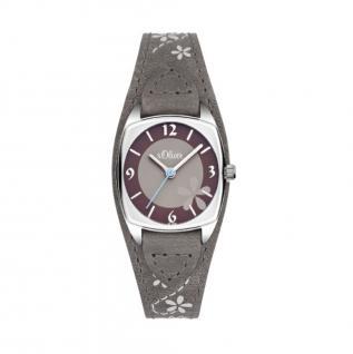 s.Oliver SO-3386-LQ Uhr Damenuhr Lederarmband Grau