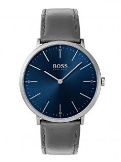 Hugo Boss 1513539 HORIZ Uhr Herrenuhr Lederarmband Grau