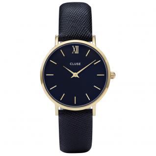 CLUSE CL30014 Minuit Gold/Midnight Blue Uhr Damenuhr Leder blau