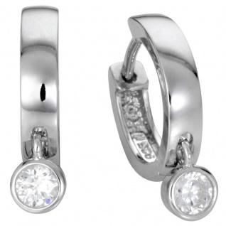 Basic Silber Damen Ohrringe SCR09 Creolen Sterling-Silber 925 Weiß Zirkonia