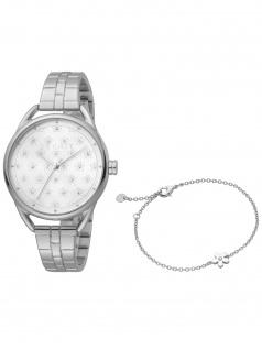 Esprit ES1L177M0065 Debi Flower Silver Set Uhr mit Armband Damenuhr