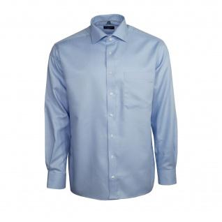 Eterna Herren Hemd Langarm Comfort Fit Blau Muster L/42 8460/12/E187