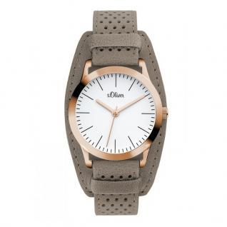 s.Oliver SO-3221-LQ Uhr Damenuhr Lederarmband Grau