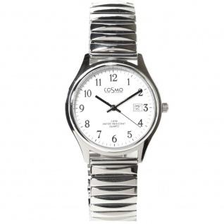 Cosmo 02063RZB-weiß Uhr Herrenuhr Edelstahl Datum weiß
