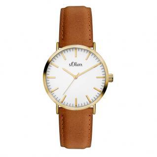 s.Oliver SO-3332-LQ Uhr Damenuhr Lederarmband Braun