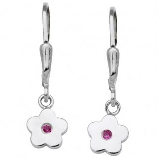 Basic Silber SK04 Kinder Ohrringe Blume Silber Rosa Zirkonia