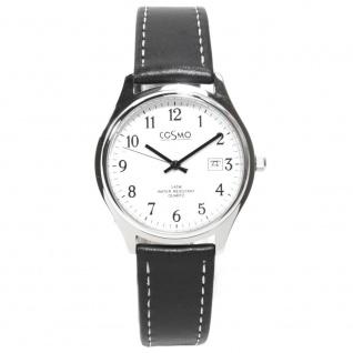 Cosmo 02063RLB-weiß Uhr Herrenuhr Lederarmband Datum schwarz