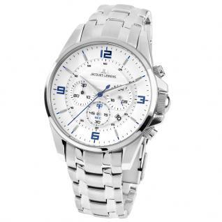 Jacques Lemans 1-1799G Chronograph Uhr Herrenuhr Datum Silber