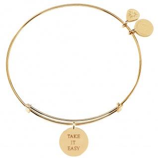 laVIIDA MO2019GG Damen Armband Take it easy Motto Silber gold 19 cm