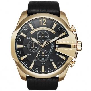 Diesel MEGA CHIEF Chronograph Uhr Herrenuhr gold Leder schwarz