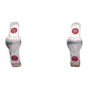Basic Silber 05.KS103R Mädchen Creolen Herz Silber Zirkonia pink - Vorschau 1