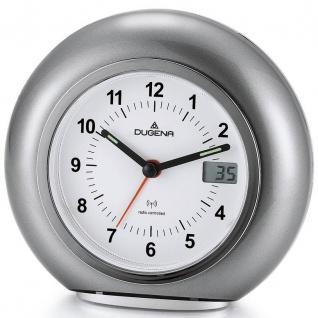 DUGENA 4460390 Wecker Funkwecker Licht Alarm grau silber leise Sekunde