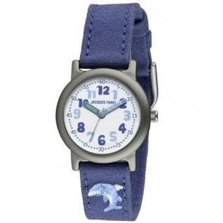 JACQUES FAREL ORG6666 Öko - Kinder Uhr Delphin Unisex Stoffband blau