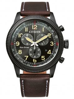 Citizen AT2465-18E Eco Drive Chronograph Uhr Herrenuhr Datum braun