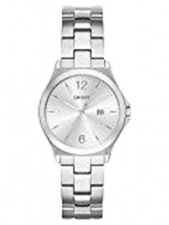 DKNY PARSONS Uhr Damenuhr Edelstahl Datum silber