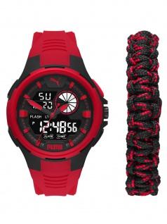 Puma P5072 Bold Analog-Digital SET Uhr Herrenuhr Datum Alarm rot