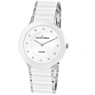 Jacques Lemans 1-1856F Uhr Damenuhr kratzfestes Keramik weiß