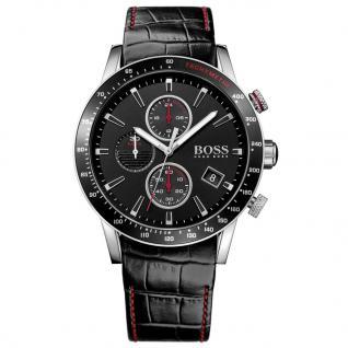 Hugo Boss 1513390 Rafale Chronograph Uhr Herrenuhr Leder Datum Schwarz