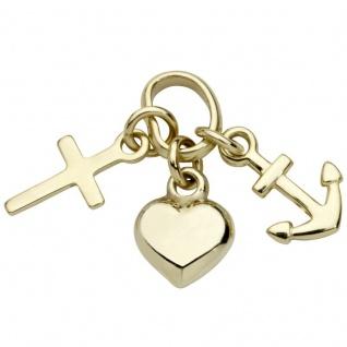 Basic Gold TG17 Kinder Anhänger Glaube Liebe Hoffnung 14 Karat Gold