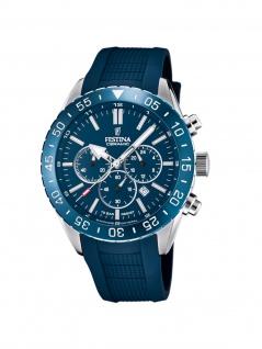 Festina F20515/1 Chronograph Uhr Herrenuhr Kautschuk Chrono Datum Blau