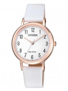 Citizen EM0579-14A Uhr Damenuhr Lederarmband Weiß