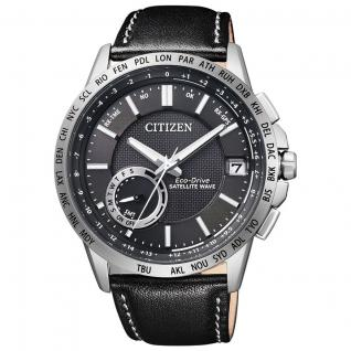 Citizen Elegant GPS Satellite Uhr Herrenuhr Lederarmband Datum schwarz