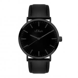 s.Oliver SO-3374-LQ Uhr Damenuhr Lederarmband Schwarz