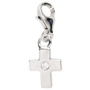 Basic Silber 22.VX428 Damen Charms Kreuz Silber Zirkonia weiß